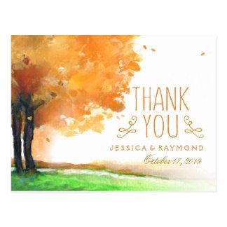 Autumn Trees Fall Thank You Matching PostCard