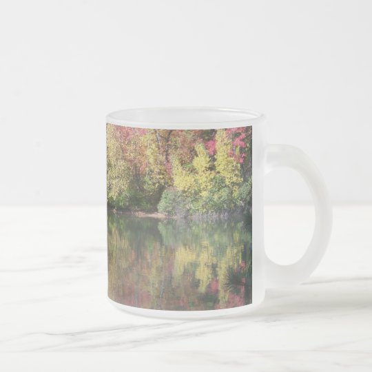 Autumn Trees Frosted Glass Coffee Mug