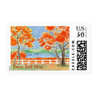 Autumn Trees Lake Landscape Watercolor Painting Postage