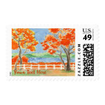 Autumn Trees Lake Landscape Watercolor Painting Postage Stamp