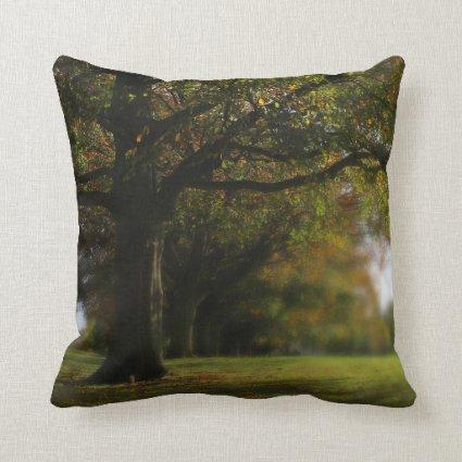Autumn Trees Landscape Throw Pillow
