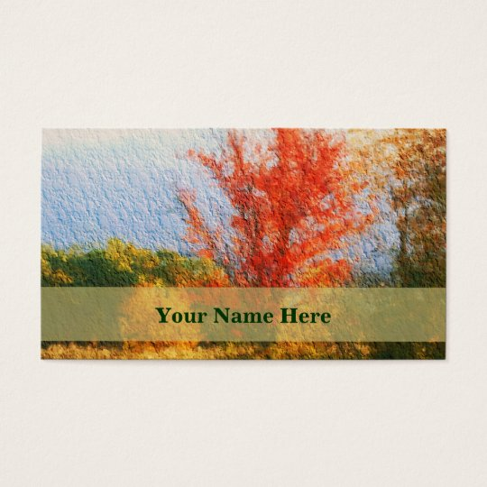 Autumn Trees Painting Nature Business Card