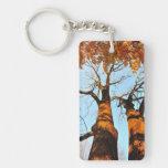 Autumn trees rectangular acrylic keychains