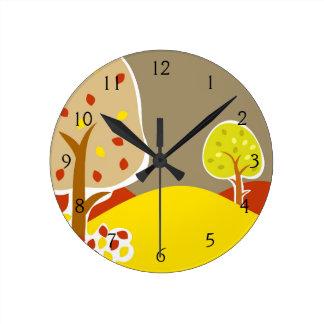 Autumn Trees Round Clock