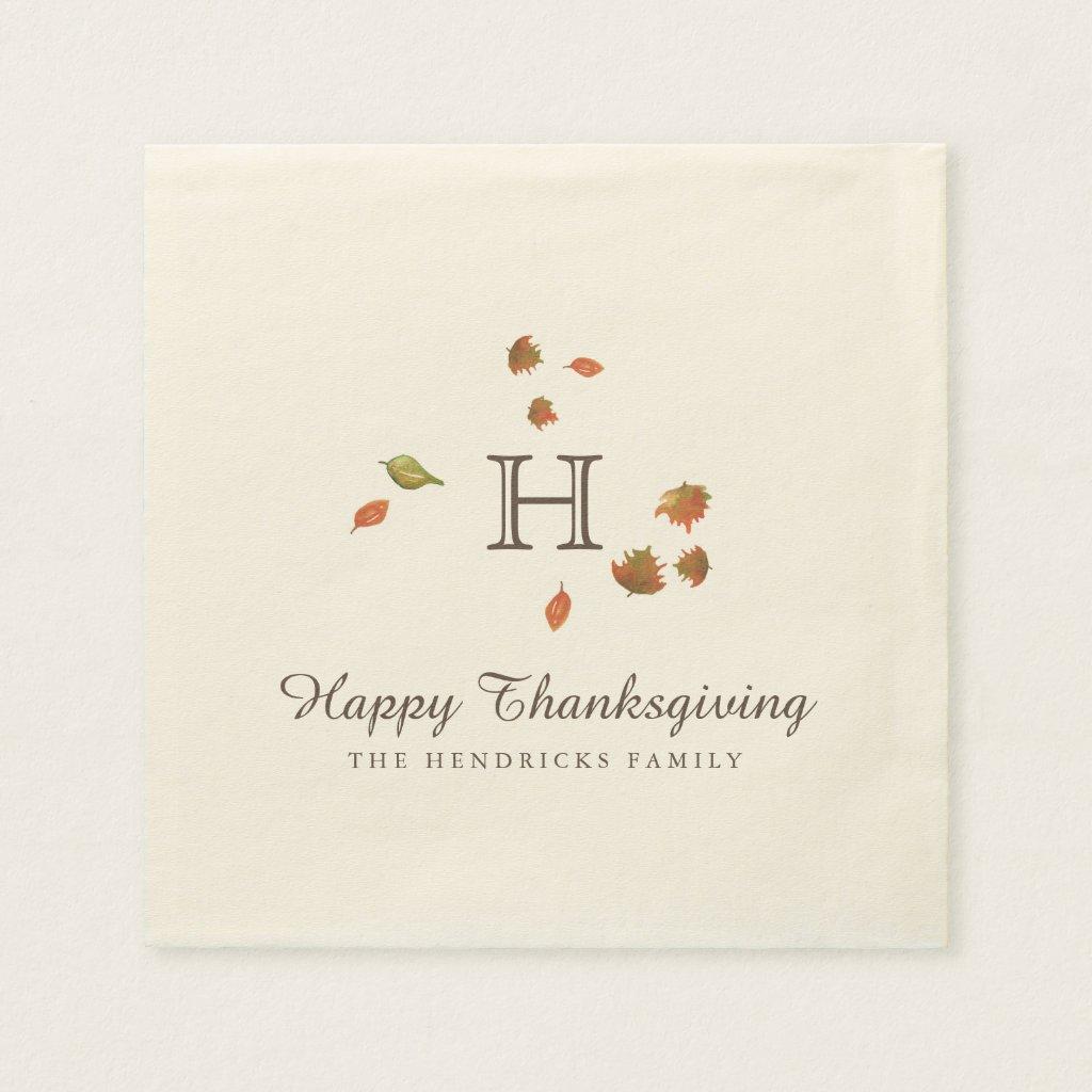 Autumn Trees Thanksgiving Monogram Napkin