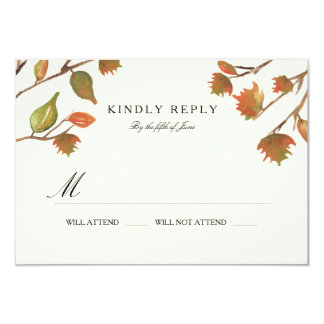 Autumn Trees Wedding RSVP Card