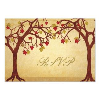 "Autumn Trees Wedding RSVP Response Card 3.5"" X 5"" Invitation Card"