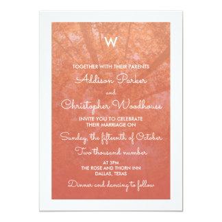 Autumn Trees | White & Coral | Monogram Wedding Card