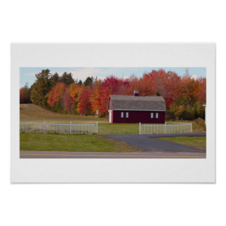 Autumn Trees With Barn Poster