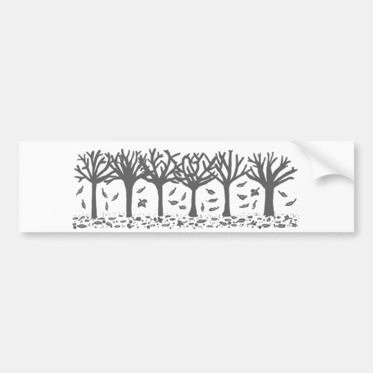 Autumn Trees with Falling Leaves Silhouette Bumper Sticker