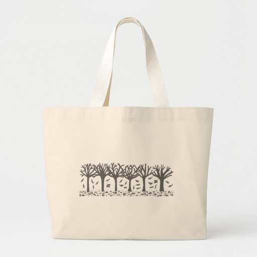 Autumn Trees with Falling Leaves Silhouette Large Tote Bag