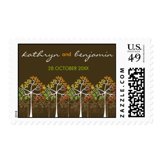 Autumn Trees Woodland Forest Fall Wedding Stamps