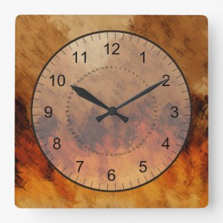 Autumn Twilight Square Wall Clock