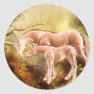 Autumn unicorns round stickers