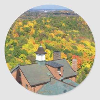 autumn up high classic round sticker