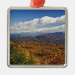 Autumn view of Southern Appalachian Mountains Square Metal Christmas Ornament