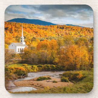 Autumn View Of The Community Church In Stowe Drink Coasters