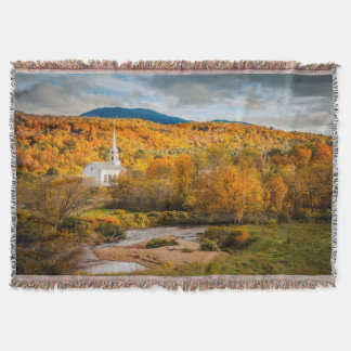 Autumn View Of The Community Church In Stowe Throw Blanket