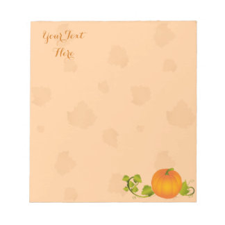 Autumn Vine Pumpkin with Customizable Text Notepad