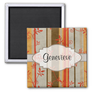 Autumn Vines and Stripes 2 Inch Square Magnet