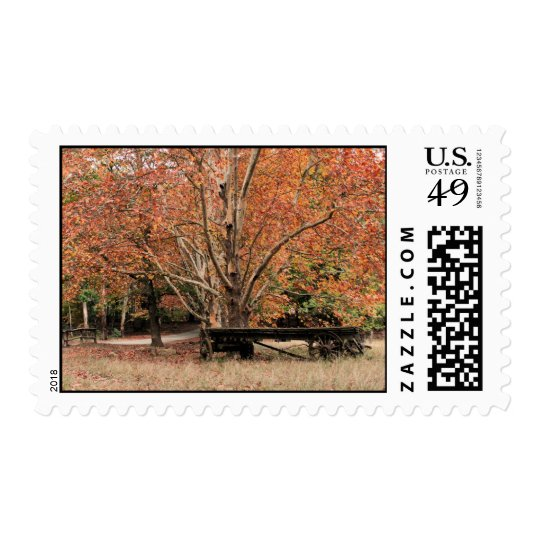 Autumn Wagon in the fall with red & orange leaves Postage