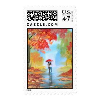 Autumn walk postage