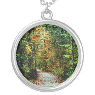 Autumn Walk Round Pendant Necklace