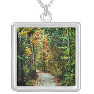 Autumn Walk Square Pendant Necklace