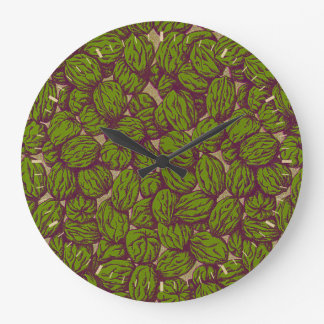 Autumn Walnut Pattern Large Clock