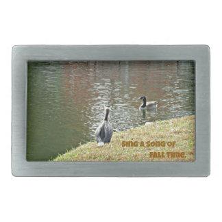 Autumn water scene with ducks rectangular belt buckles