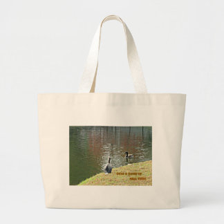 Autumn water scene with ducks large tote bag