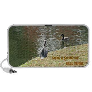 Autumn water scene with ducks notebook speakers