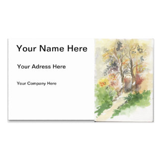 Autumn watercolor business card