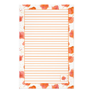 Autumn Watercolor Fall Leaves Orange Lined Stationery