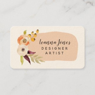 Autumn Watercolor Floral Type Designer Artist Appointment Card