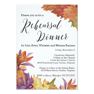 Autumn Watercolor Leaves Rehearsal Dinner Invitation