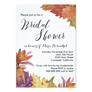 Autumn Watercolor Leaves Wedding Bridal Shower 4.5x6.25 Paper Invitation Card