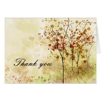Autumn Watercolor Thank You Greeting Card