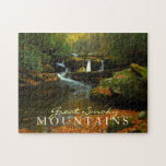 """Autumn waterfall - Great Smoky Mountains puzzle<br><div class=""""desc"""">Puzzle - Featuring a waterfall during autumn in the Great Smoky Mountains National Park</div>"""