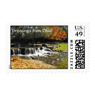 Autumn Waterfall in Ohio Scenic Personalized Stamp