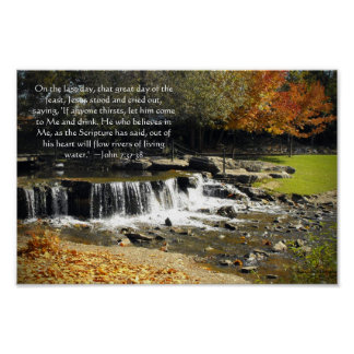Autumn Waterfall Scene John 7:37 Bible Verse Poster