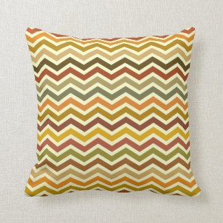 Autumn Waves Chevron Zigzag Pillow