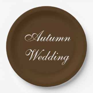 Autumn Wedding Brown Rich Deep Rustic Color Paper Plate