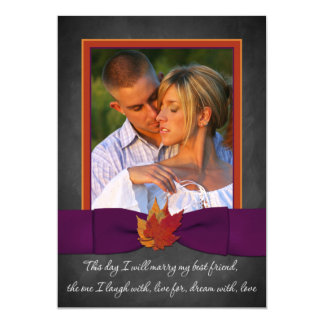 Autumn Wedding | Chalkboard, Fall Leaves | Purple Card