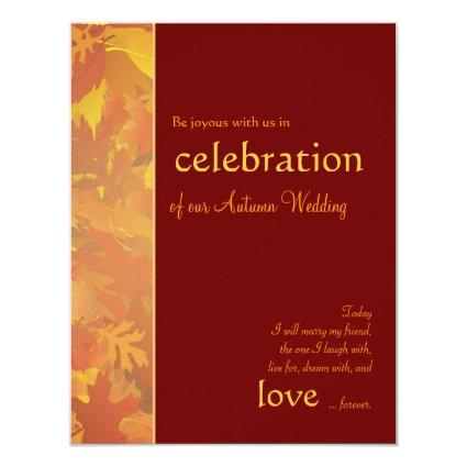 "Autumn Wedding - Contemporary Wedding Invitations 4.25"" X 5.5"" Invitation Card"