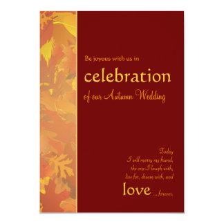"Autumn Wedding - Contemporary Wedding Invitations 5"" X 7"" Invitation Card"