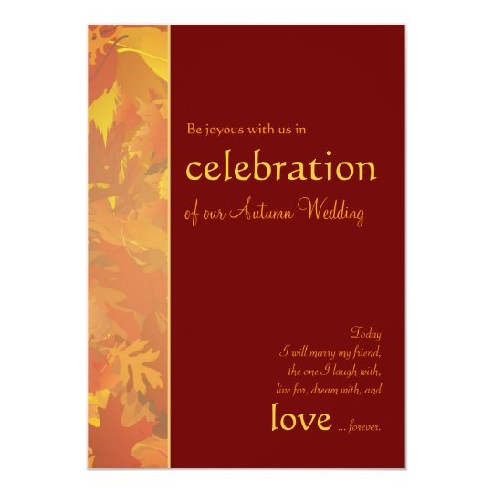 Autumn Wedding - Contemporary Wedding Invitations