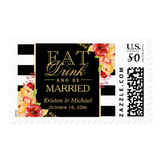 Autumn Wedding EAT Drink and Be Married Floral Postage