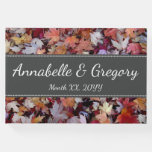 [ Thumbnail: Autumn Wedding Fallen Leaves + Personalized Names Guest Book ]
