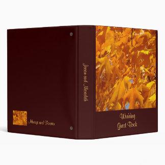 Autumn Wedding Guest Book binder Golden Leaves